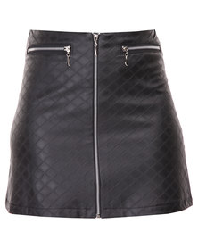 Hashtag Selfie Leatherette Quilted Skirt with Zips Black