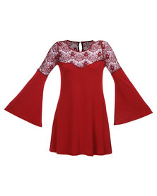 Hashtag Selfie Lace Top Bell Sleeve Dress Burgundy