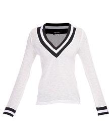 Hashtag Selfie Deep V Neck Sweater White