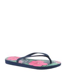 Havaianas Slim Floral Flip Flops Navy Blue