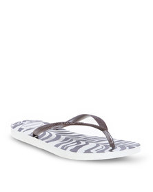 Havaianas Slim Animals Ladies Flip Flops White/Dark Brown