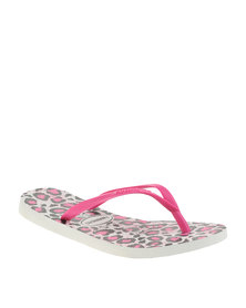 Havaianas Slim Animals Flip Flops White Rose