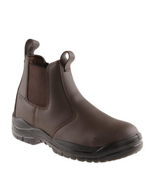 Hi-Tec Carrick Chelsea Leather Casual Slip on Ankle Boot Chocolate Brown