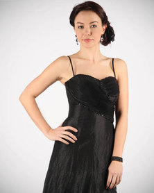 Hip Hop Beaded Maxi Gown Black