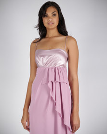 Hip Hop Maxi Dress Pleated Bust Pink