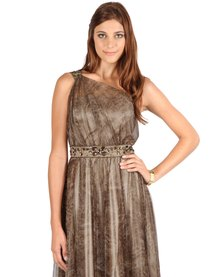 Hip Hop One-Shouldered Dress Brown