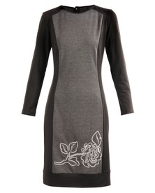 Hip Hop  Knee Length  Contrast Embroidered Inset Piece Dress Grey
