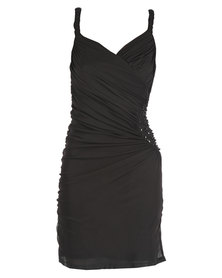 Hip Hop Beaded Side Gauge Dress Black