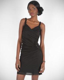 Hip Hop Beaded Side Gauge Dress Black