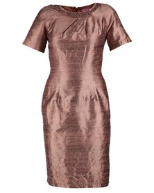 Hip Hop Shift Dress With Pleated Neckline Bronze