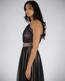 Hip Hop Maxi Dress Pleated Bust Black/Pink