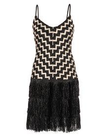 Hip Hop Chevron Tassel Dress Black