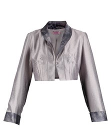 Hip Hop Bolero With Contrasting Collar Silver