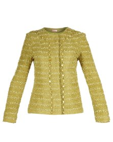 Hip Hop Chanel-Shaped Jacket Lime Green