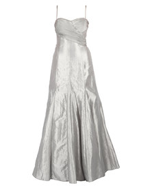 Hip Hop Beaded Pleated Bust Maxi Gown Silver