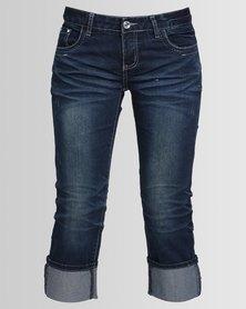 Hip Shop Three Quarter Jeans Dark Blue