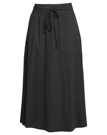 Holly Blue Crepe Knit Slit Skirt Charcoal
