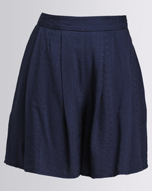 Holly Blue Pleat Detail Shorts Blue