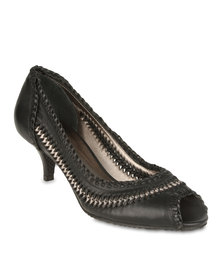 Hush Puppies Pat Weaved Peeptoe Heels Black