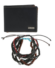 Icon Brand Paint It Black Wallet and Bracelet Set Black