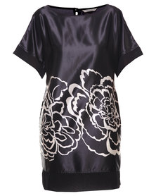 Ilan Rose Print Summer Dress Black
