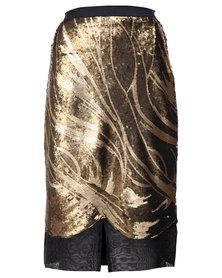 Ilan Gabrielle Sequin Skirt Gold