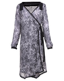 Ilan Snakeskin Print Wrap Dress Black/White