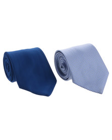 JCrew Self Textured Tie and Check Hanky Blue