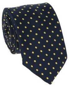 JCrew 2 Pack Stripe + Polka Dot Tie Yellow/Navy