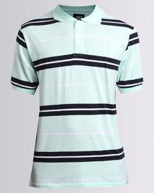JCrew Stripe Golf Shirt Mint And Navy