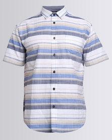 JCrew Horizontal Stripe Short Sleeve Shirt Blue Beige