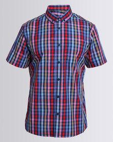 JCrew Multi Check Short Sleeve Shirt Red
