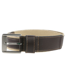 JCrew Genuine Leather Web Belt Brown