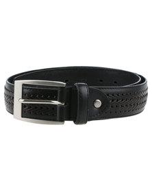 JCrew Genuine Leather Plait Belt Black