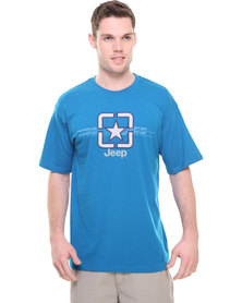 Jeep S/Sleeve Applique Embelished Tee Blue
