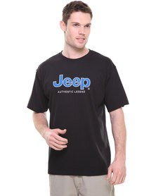 Jeep S/Sleeve Applique Embelished Tee Black
