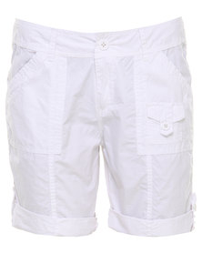 Jeep Cracker Poplin Roll Up Leg Short White