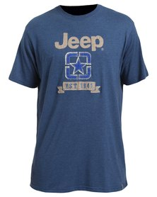 Jeep Short Sleeve Printed Applique T-Shirt Blue