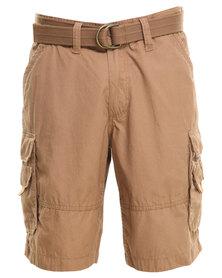 Jeep Belted Cargo Shorts Beige