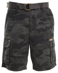Jeep Belted Cargo Shorts Green