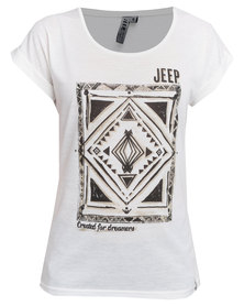 Jeep Short Sleeve Poly Linen Fashion Top Off-white