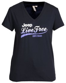 Jeep Single Jersey V-neck T-Shirt Navy