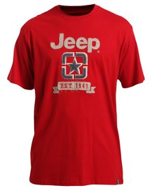 Jeep Short Sleeve Applique T-Shirt Red