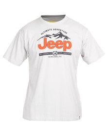 Jeep Short Sleeve Applique Emblem Print Tee Light Grey