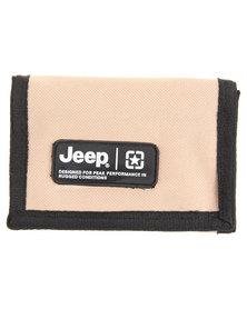 Jeep Nylon Wallet with Rubber Badge Beige
