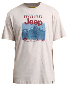 Jeep Short Sleeve Printed T-Shirt Oatmeal