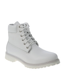 Jeep Gecko Lace Up Boots White