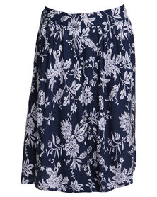 Jeep Printed Woven Viscose Skirt Blue