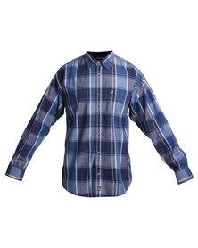Jeep Long Sleeve Check Shirt Blue