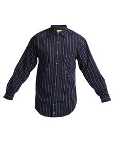 Jeep Long Sleeve Stripe Shirt Navy